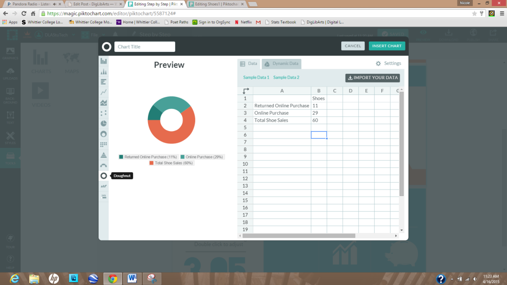 Screenshot of charts, tables, and graphs being added