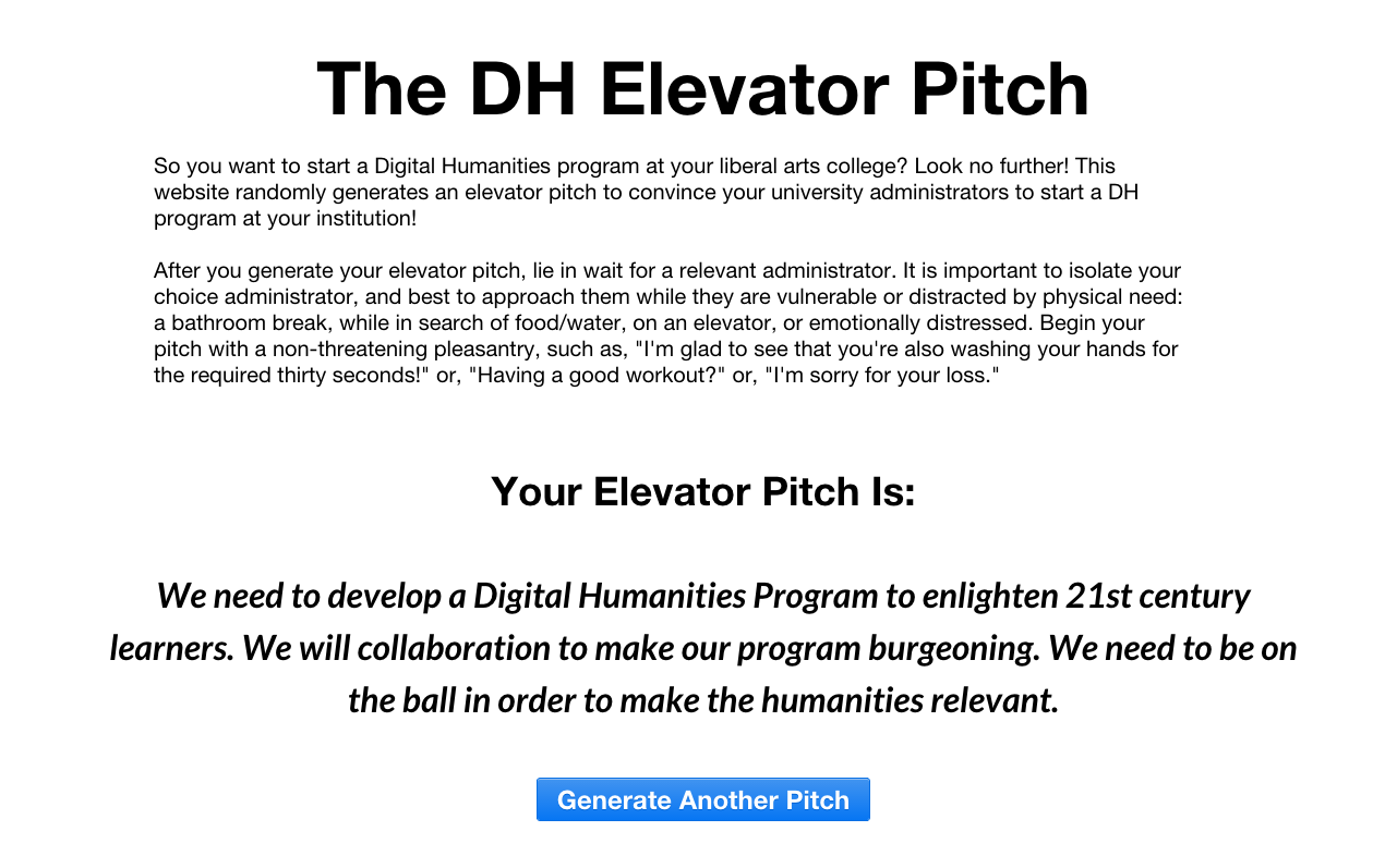 elevator pitch template