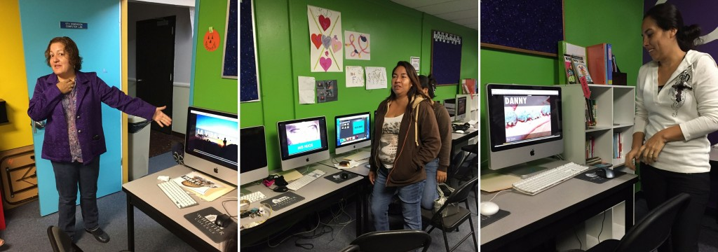 Parents presenting their digital storybooks at the Fifth Dimension computer lab located at the Boys & Girls Club of Whittier