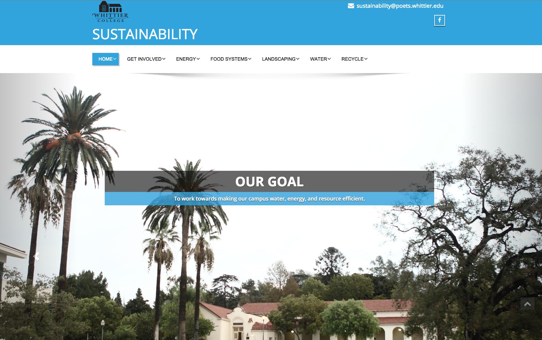 Screen Shot of Sustainability Website