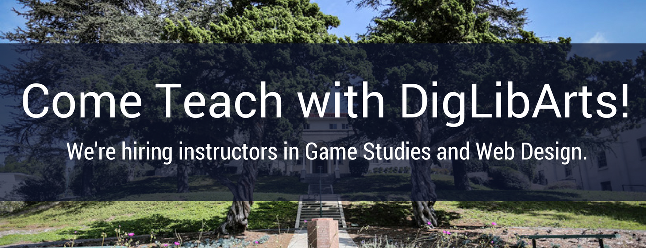 Come Teach with DigLibArts text over image of Wardman Hall