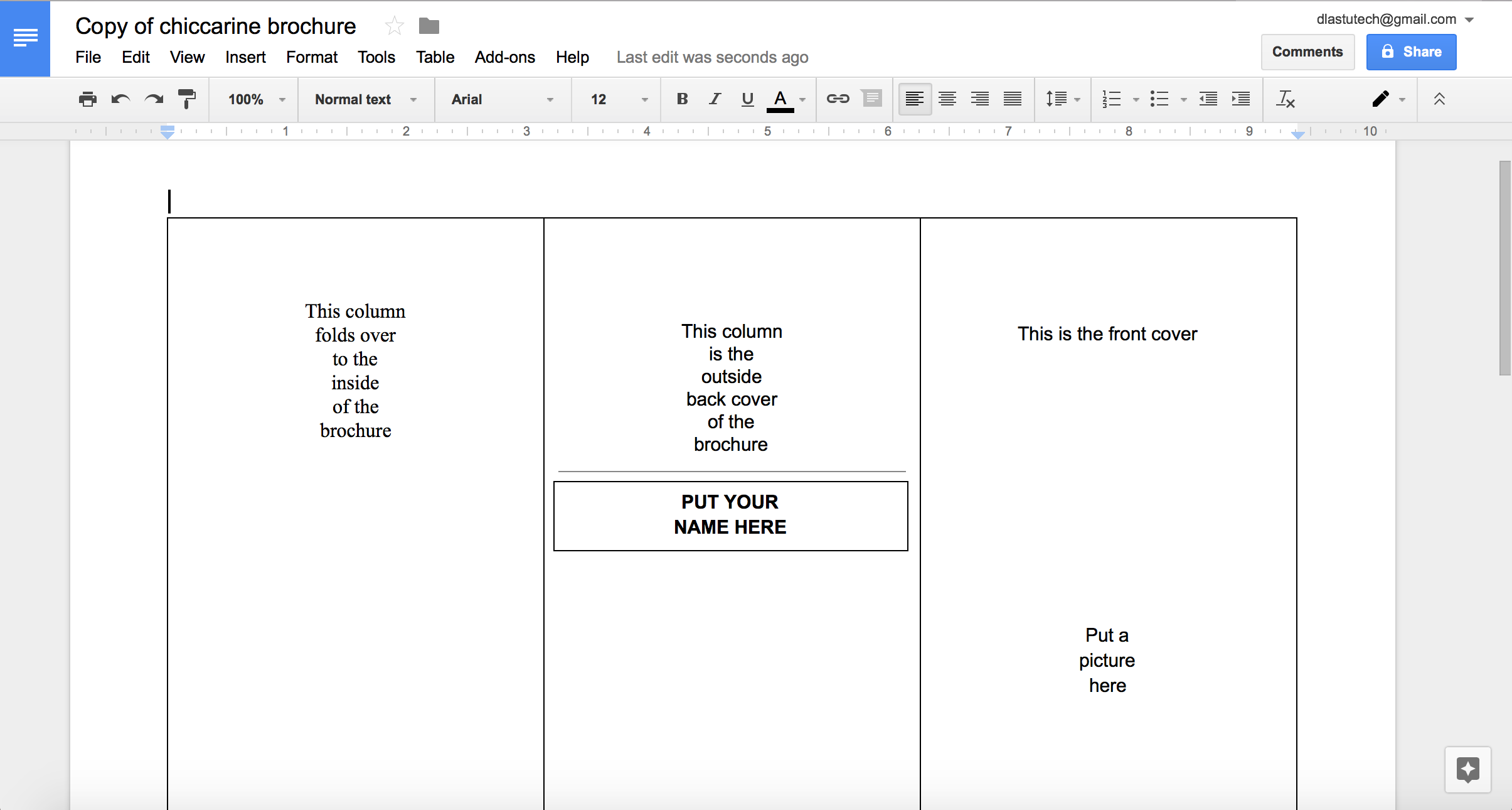brochure template google drive - tutorial making a brochure using google docs from a